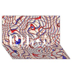 Ribbon Chaos 2 Red Blue Hugs 3d Greeting Card (8x4)