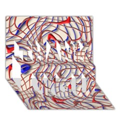 Ribbon Chaos 2 Red Blue Thank You 3d Greeting Card (7x5)