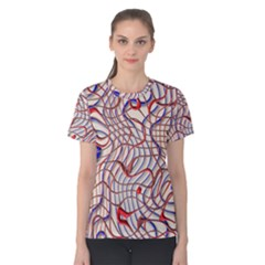 Ribbon Chaos 2 Red Blue Women s Cotton Tees
