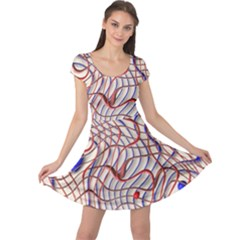 Ribbon Chaos 2 Red Blue Cap Sleeve Dresses