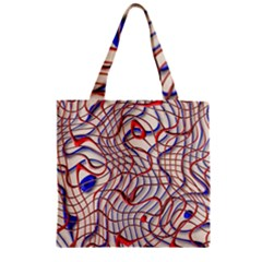 Ribbon Chaos 2 Red Blue Zipper Grocery Tote Bags