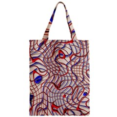 Ribbon Chaos 2 Red Blue Zipper Classic Tote Bags