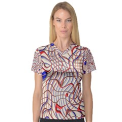 Ribbon Chaos 2 Red Blue Women s V Neck Sport Mesh Tee