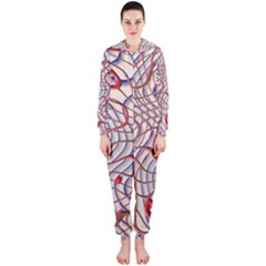 Ribbon Chaos 2 Red Blue Hooded Jumpsuit (ladies)