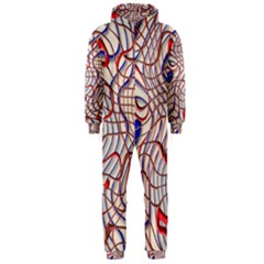 Ribbon Chaos 2 Red Blue Hooded Jumpsuit (Men)