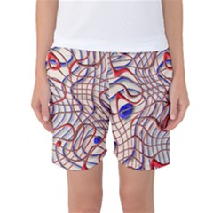 Ribbon Chaos 2 Red Blue Women s Basketball Shorts