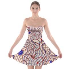 Ribbon Chaos 2 Red Blue Strapless Bra Top Dress