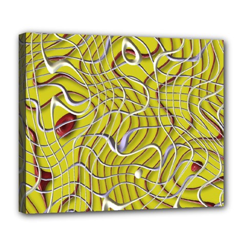 Ribbon Chaos 2 Yellow Deluxe Canvas 24  x 20