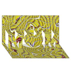 Ribbon Chaos 2 Yellow MOM 3D Greeting Card (8x4)