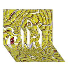 Ribbon Chaos 2 Yellow GIRL 3D Greeting Card (7x5)