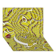 Ribbon Chaos 2 Yellow Circle Bottom 3d Greeting Card (7x5)