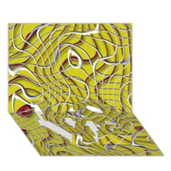 Ribbon Chaos 2 Yellow LOVE Bottom 3D Greeting Card (7x5)