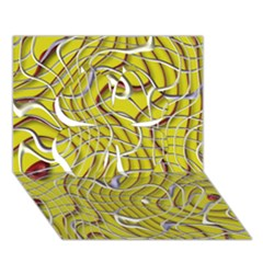 Ribbon Chaos 2 Yellow Clover 3d Greeting Card (7x5)