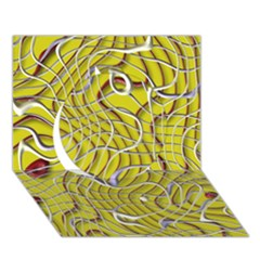 Ribbon Chaos 2 Yellow Circle 3D Greeting Card (7x5)