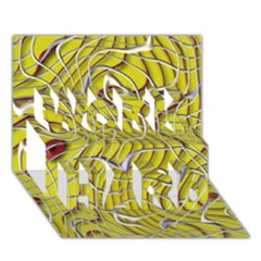 Ribbon Chaos 2 Yellow WORK HARD 3D Greeting Card (7x5)