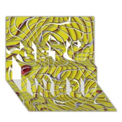 Ribbon Chaos 2 Yellow Get Well 3d Greeting Card (7x5)