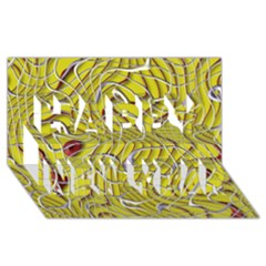 Ribbon Chaos 2 Yellow Happy New Year 3D Greeting Card (8x4)