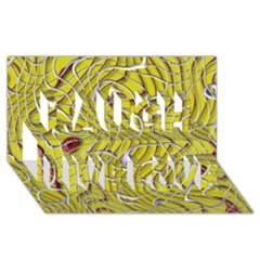 Ribbon Chaos 2 Yellow Laugh Live Love 3D Greeting Card (8x4)