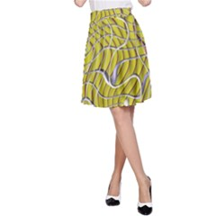 Ribbon Chaos 2 Yellow A-Line Skirts
