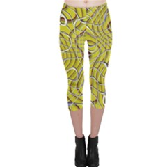 Ribbon Chaos 2 Yellow Capri Leggings