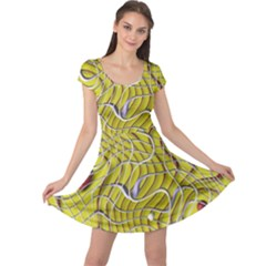 Ribbon Chaos 2 Yellow Cap Sleeve Dresses