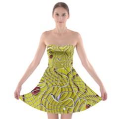Ribbon Chaos 2 Yellow Strapless Bra Top Dress