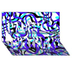 Ribbon Chaos Ocean Happy Birthday 3D Greeting Card (8x4)