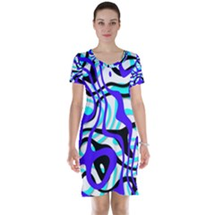 Ribbon Chaos Ocean Short Sleeve Nightdresses