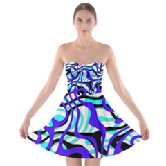 Ribbon Chaos Ocean Strapless Bra Top Dress