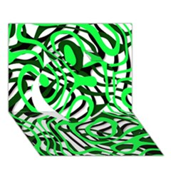 Ribbon Chaos Green Heart 3d Greeting Card (7x5)