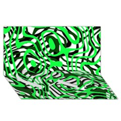 Ribbon Chaos Green Twin Heart Bottom 3D Greeting Card (8x4)