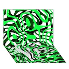 Ribbon Chaos Green Love Bottom 3d Greeting Card (7x5)