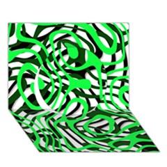 Ribbon Chaos Green Circle 3D Greeting Card (7x5)