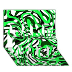 Ribbon Chaos Green TAKE CARE 3D Greeting Card (7x5)