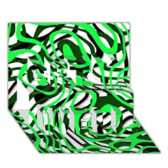 Ribbon Chaos Green Get Well 3d Greeting Card (7x5)
