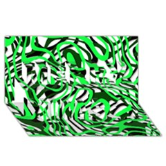 Ribbon Chaos Green Merry Xmas 3D Greeting Card (8x4)