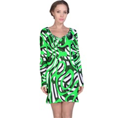 Ribbon Chaos Green Long Sleeve Nightdresses