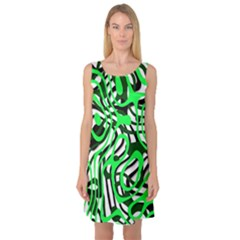Ribbon Chaos Green Sleeveless Satin Nightdresses