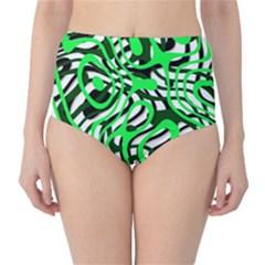 Ribbon Chaos Green High-Waist Bikini Bottoms