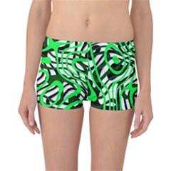 Ribbon Chaos Green Reversible Boyleg Bikini Bottoms