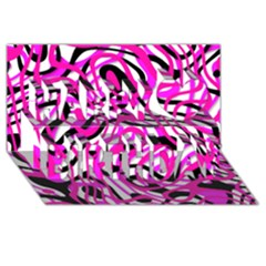 Ribbon Chaos Pink Happy Birthday 3d Greeting Card (8x4)