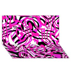 Ribbon Chaos Pink Twin Hearts 3d Greeting Card (8x4)