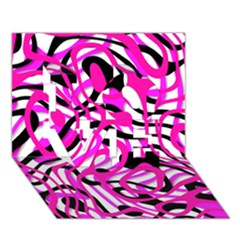 Ribbon Chaos Pink LOVE 3D Greeting Card (7x5)