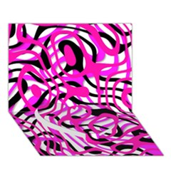 Ribbon Chaos Pink Heart Bottom 3D Greeting Card (7x5)