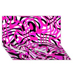 Ribbon Chaos Pink Twin Heart Bottom 3D Greeting Card (8x4)
