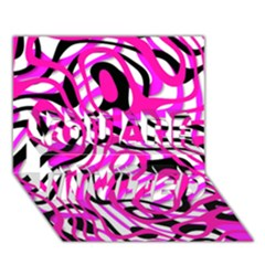 Ribbon Chaos Pink You Are Invited 3d Greeting Card (7x5)