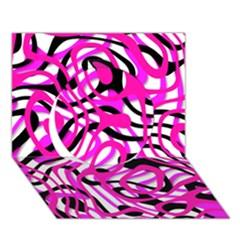 Ribbon Chaos Pink Circle 3D Greeting Card (7x5)