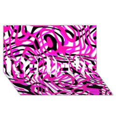 Ribbon Chaos Pink Believe 3d Greeting Card (8x4)