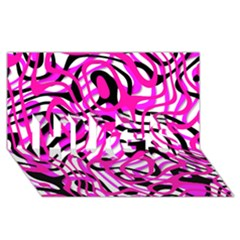 Ribbon Chaos Pink HUGS 3D Greeting Card (8x4)