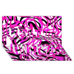 Ribbon Chaos Pink Best Wish 3d Greeting Card (8x4)